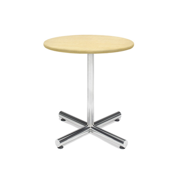 30″ Round Cafe Table - Maple with Chrome Base